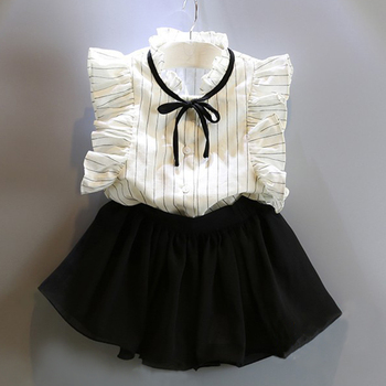 Newborn Baby Girl Black Bowknot Short T-shirt +Flowers Ball Gown Dress 2pcs Clothing Sets 1