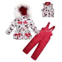 Children's Winter Clothing Set Baby Girls Ski Suit Kids Sets Windproof Flower Warm Coats Fur Jackets+Pants 1 5T