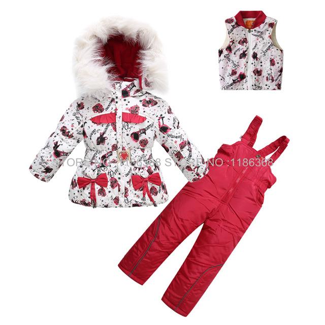 Conjunto de Roupas de Bebê Meninas Terno De Esqui do Inverno das crianças Crianças Define Flor Quente Casacos de Peles Casacos + Calças À Prova de Vento 1-5 T