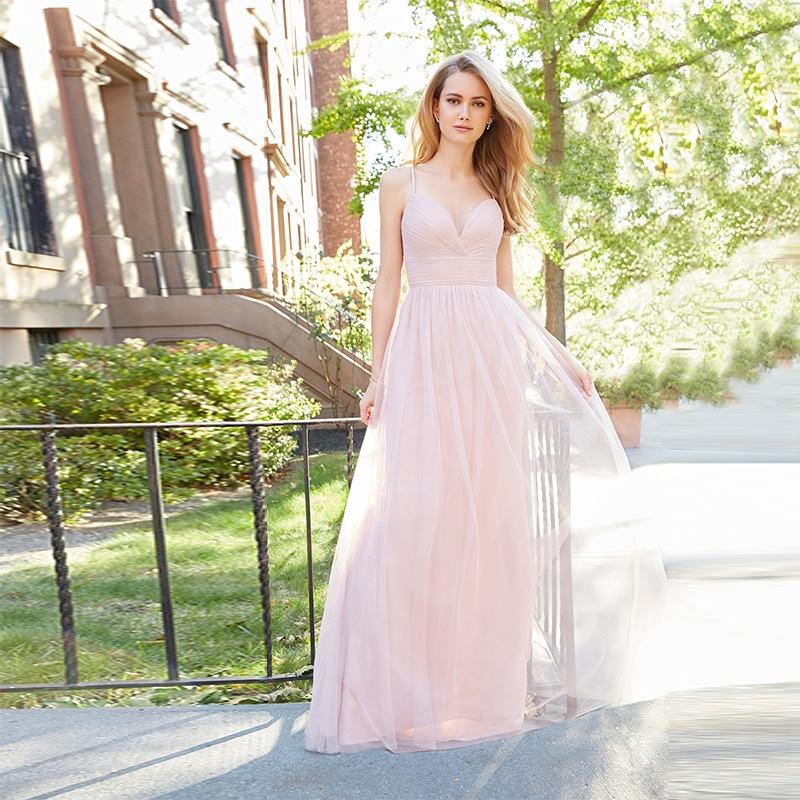 Verngo Pink Tulle Bridesmaid Dresses Spaghetti Straps Dress Simple Elegant Vestidos De boda Invitada