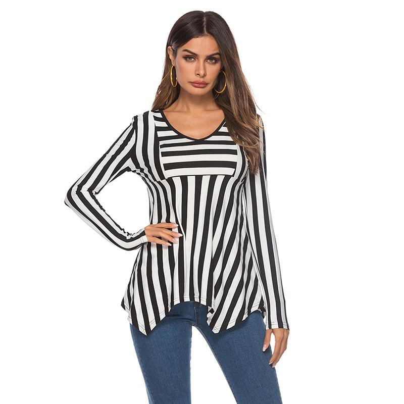 T Shirt Tshirt Women Tshirt 2019 Fashion Stripe T Shirts For Women Long Sleeve v-neck Ladies Camiseta Mujer S-2XL Casual Tops