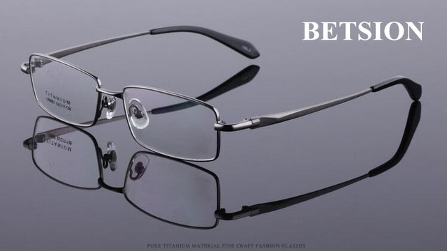5de3a290873 BETSION Pure Titanium Gunmetal Eyeglass Frame Glasses eyewear men women Rx  able