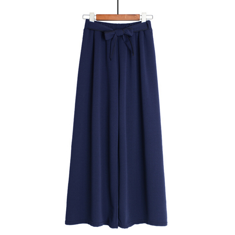 One Size Culotte   Pants   Belted   Wide     Leg     Pants   Woman Ladies Elastic Waist Bowknot Loose Polyester Casual Fashion