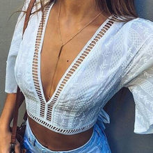 2018 New Womens Ladies Fashion V Neck Crop Top Solid white Summer Hollow out Lace back-bow Frill trumpet sleeve blouse Partywear(China)
