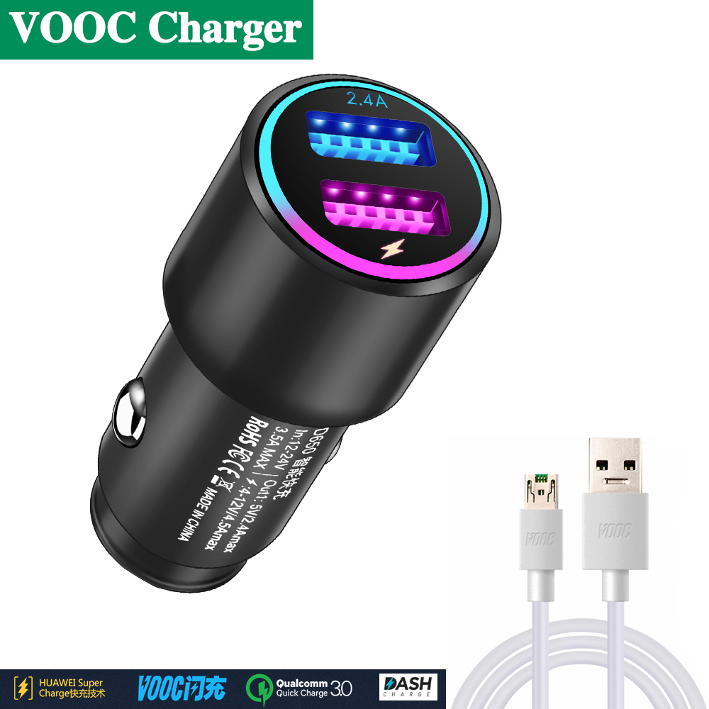 Flash charging car charger For oppo R9 R9S R11 R11S R15 R15S PLUS Mobile phone VOOC charger cable