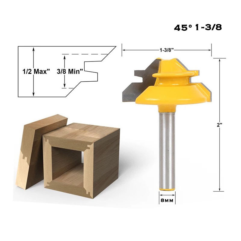 8mm Shank 45 Degree - Up to 1/2 Stock Lock Miter Router Bit Woodwork Cutter