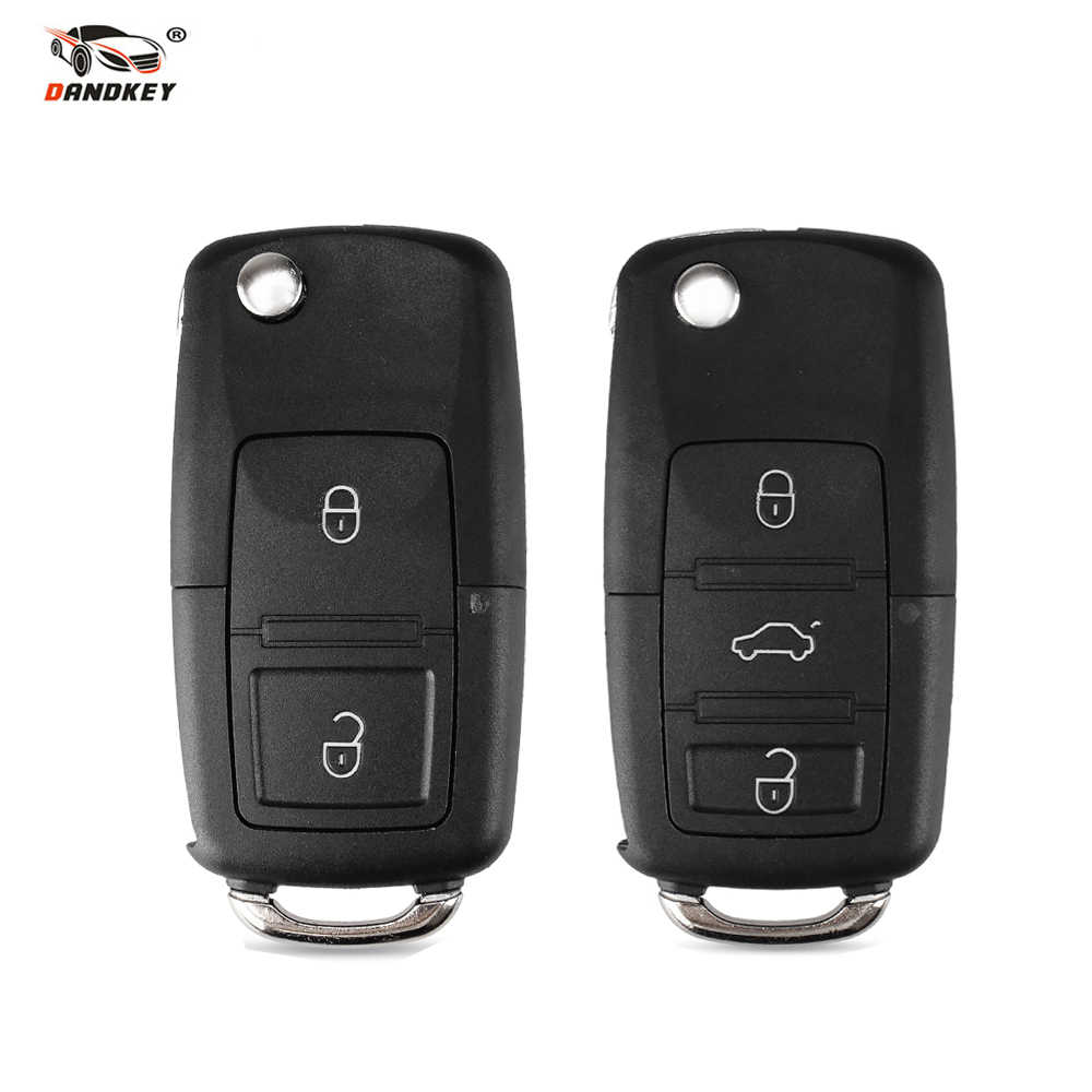 DANDKEY 1x Flip Folding Remote 2 3 Buttons Key Shell Case Fob Without Blade For VW Volkswagen Bora Passat Golf Polo Jetta Touran