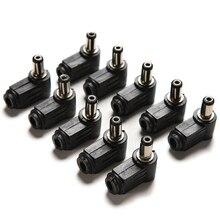 10 個 90 度黒 2.1 × 5.5 ミリメートル 2.1 ミリメートルの dc 電源ライトアングルケーブル雄プラグはんだコードティップアダプタコネクタ