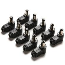 10 sztuk 90 stopni czarny 2.1x5.5mm 2.1mm DC Power kątowy kabel męski wtyk przewód lutowniczy wskazówka Adapter złącze