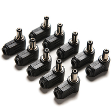 10PCS 90 Degree Black  2.1x5.5mm 2.1mm DC Power Right Angle Cable Male Plug Soldering Cord Tip Adapter Connector