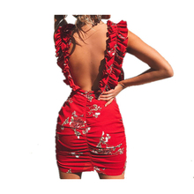 62a0139b6e1 Red Floral Summer Dress Women Sexy Sleeveless beach Sheath Ruffles Tank  Draped Sundress Party Dresses Brand