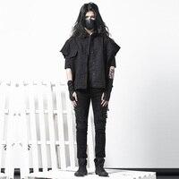 Джинсовый жилет, индивидуальный дизайн с необработанными краями, Мужская Корейская версия, очень большое пальто черного цвета