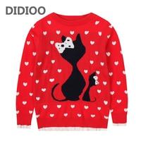 Kids Girls Knitwear Cotton Cartoon Sweaters For Girls Tops Autumn Winter Bottoming Shirts 2 4 6