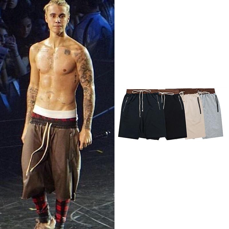 Kanye West Drop Crotch   Shorts   for Mens Streetwear Hip Hop Side Zip Harem Knee Length Men Justin Bieber Fashionable Baggy   Shorts