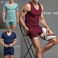 Opening Sale High Quality Sexy Mens Underwear Sleepwear Breathable Pajamas Fashion Male Undershirt Set 4 Color Free Shipping