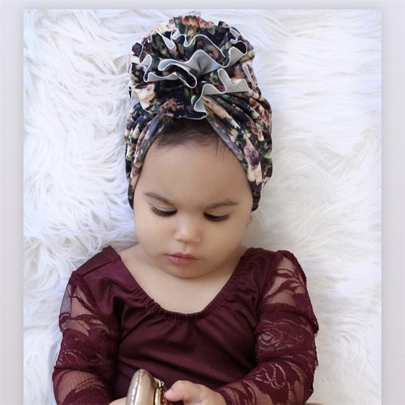 Newborn Toddler Baby Turban Hat Bullet Print Fabric Beanie Hat Flower Donut Hats Soft Caps Gifts
