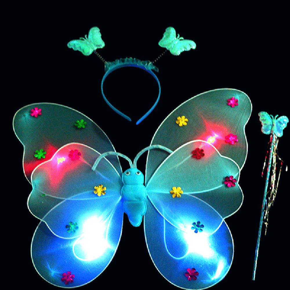 3pcs/Set Girls Led Flashing Light Fairy Butterfly Wing Wand Headband Light Up Funny Educational Led Luminous Toys A521