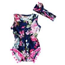 New 2017 Brand Baby Bodysuits Spring summer Babies Newborn Cotton Body Baby Sleeveless Infant Bebe Girl Flower Clothes set