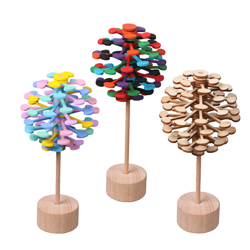 Wooden Rotary Relief Bar Toys Magic Wand Stress Relief Toy For Children Adults Rotating Lollipop Decompression Lollipop Creative