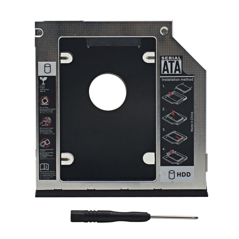 "2nd HDD Caddy 9.5mm SATA 3.0 2.5"" SSD HDD Hard Drive Enclosure Box Case For DELL E6540 E6440 optibay"