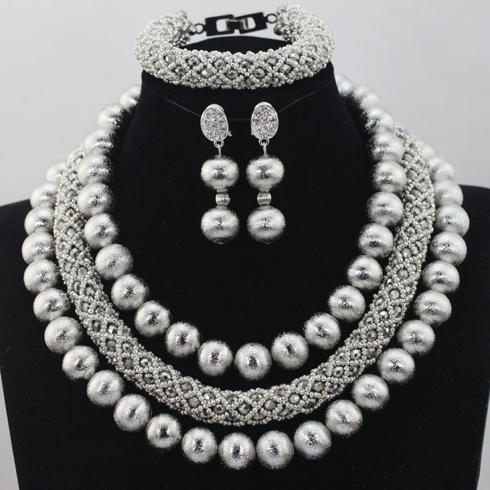 African Silver Grey Costume Jewelry Sets Nigerian Wedding/Party Crystal Beads Jewelry Sets 2017 New Free Shipping  HX506African Silver Grey Costume Jewelry Sets Nigerian Wedding/Party Crystal Beads Jewelry Sets 2017 New Free Shipping  HX506