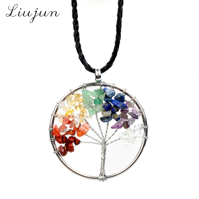 2017 liujun meaning blessing lucky tree of life pendant necklace 2017 liujun meaning blessing lucky tree of life pendant necklace quartz women multicolor rainbow chakra natural aloadofball Images