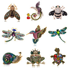 Broche insecte rétro libellule abeille escargots Brosche colibri Broach femmes émail Animal grenouille tortue Broches mâle Mujer Brosh(China)