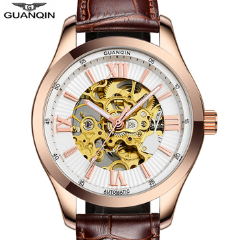 Guanqin 2018 relógios masculinos marca de luxo relógio automático mecânico à prova dskeleton água esqueleto rosa ouro relogio masculino Relógios mecânicos     -