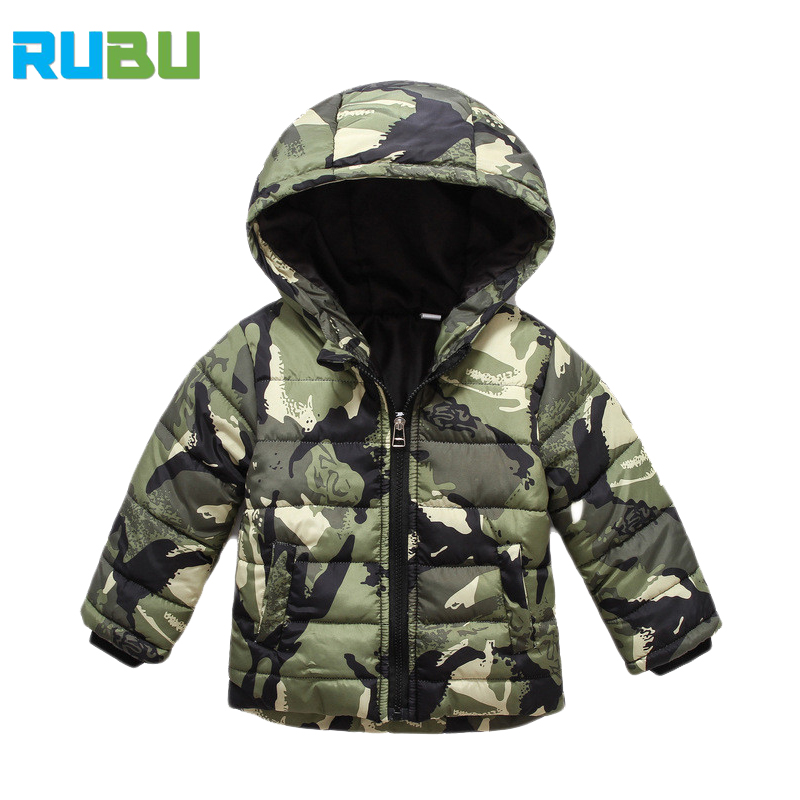 Camouflage Hooded Winter Kids Down Jacket Clothes Warm Boys Girls Jackets & Coats Baby Outerwear Children Clothing For JSB431