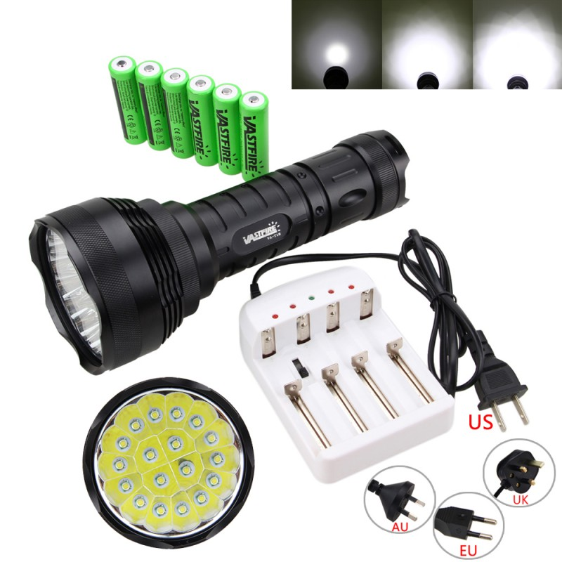 Military 50000LM 18x XM-L T6 LED Tactical Flashlight Torch Lamp Hunting 5Modes With Charger 6x18650 Battery авто семерку за 50000