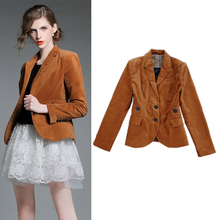 HIGH QUALITY Women's Fashion Style Formal Bodycon Jackets Solid Color Brown Buttons Velvet Blazer Outerwear Coats S-XXL
