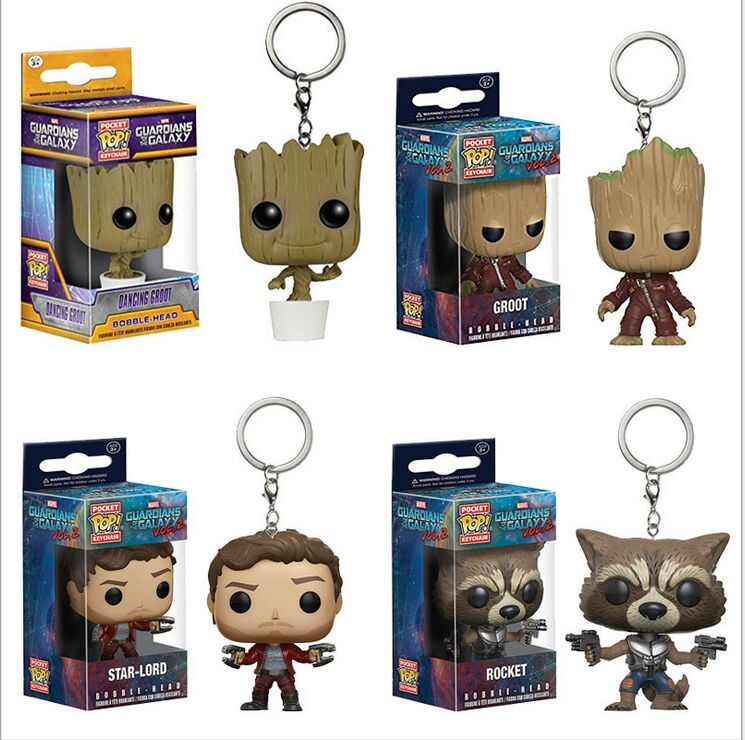 Pocket POP Keychain Guardians of the Galaxy Vol. 2 Tree man Groot Baby Dancing Groot Star-lord Rocket Bobble-head Action Figure jeff lemire animal man vol 1 the hunt the new 52