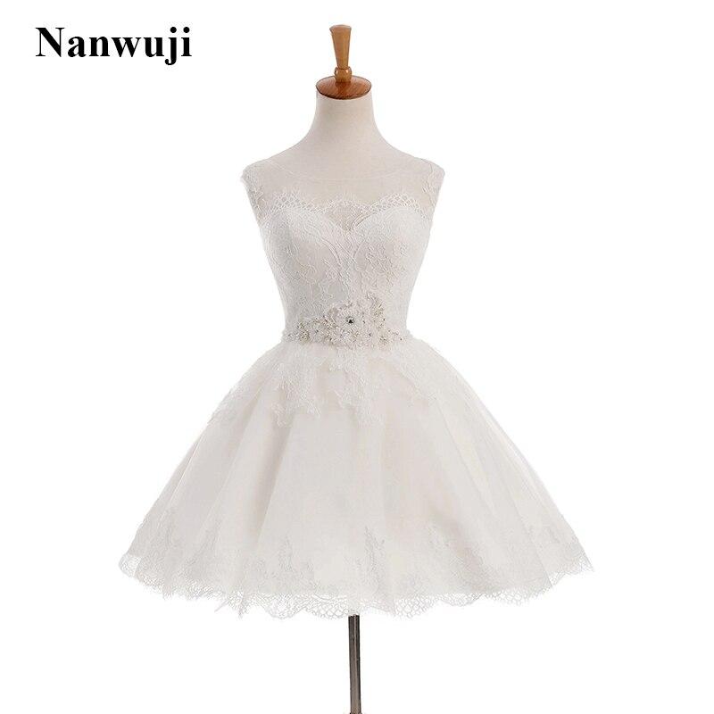 2017 Nanwuji Short Wedding dress Illusion Backless Corset Cheap Wedding dress in Wedding Dresses from Weddings Events