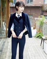 2018 Winter formal elegant Women's 3 Piece Sets Women Business Suits Waistcoat Pant and Jacket Sets Office Uniform Designs