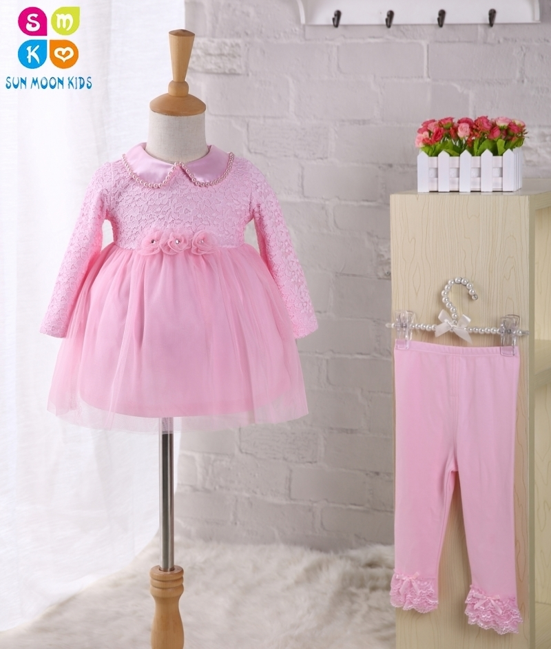 2pcs/set Baby Girl Dress Infant Wedding Dress Pink Lace 1 Year Birthday Dress Long-sleeve Baby Bastipsm Dress+leggings pink lace up design cold shoulder long sleeves hoodie dress