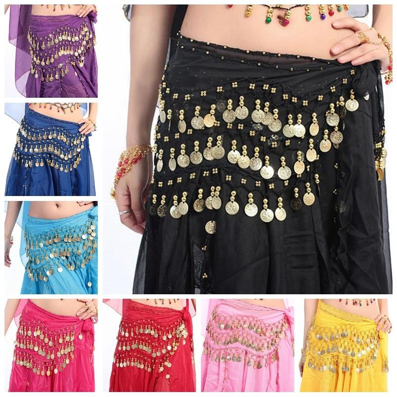 Women Belly Dance Hip Scarf Chiffon 3 Row Belt Skirt With Gold Bellydance Tone Coins Waist Chain Wrap Adult Dance Wear 8 Colors
