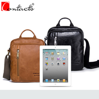 New Genuine Leather Bags Men CONTACT S Brand High Quality Messenger Bags Small Travel Brown Crossbody