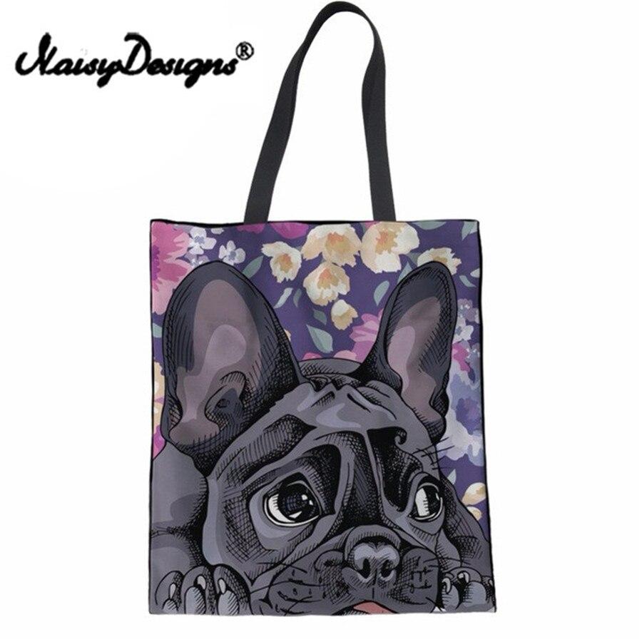 NoisyDesigns Women Handbag Cute 3D Animal French Bulldog Daisy Boxer Canvas Shoulder Bag Teenager Girls Shopping Tote Beach Bag