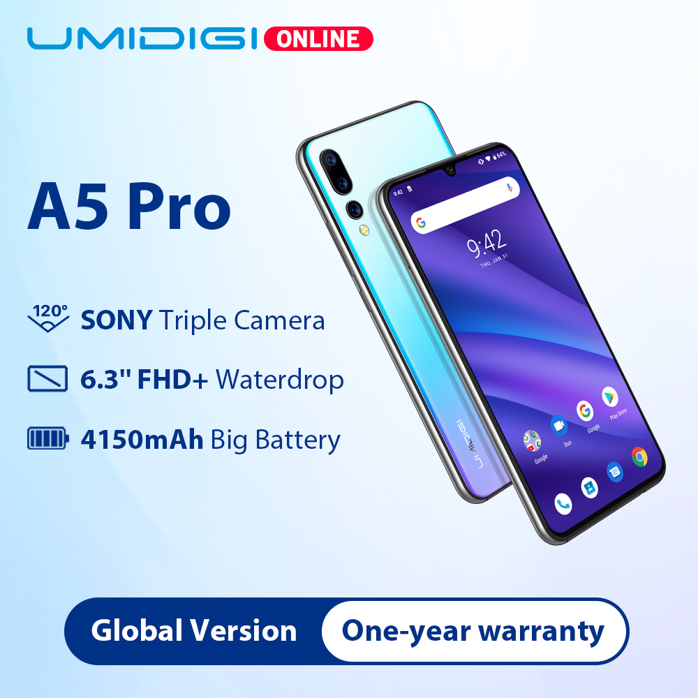 UMIDIGI A5 PRO Global Bands 16MP Triple Camera Android 9.0 Octa Core 6.3' FHD+ Waterdrop Screen 4150mAh 4GB+32GB Mobile Phone image