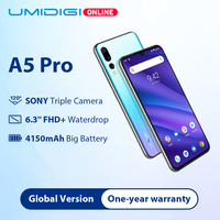 UMIDIGI A5 PRO Global Band 16MP Тройная камера Android 9,0 Octa Core 6,3 'FHD + Капля воды экран 4150 мАч 4 Гб + 32 Гб мобильный телефон