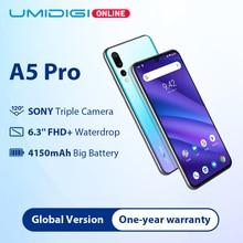 "Umidigi a5 pro câmera tripla versão global, android 9.0, tela 6.3 ""fhd +, 4150mah, bateria grande, octa core 4 smartphone 2 + 1 slots gb + 32gb"
