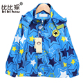 Bibihou 90-120cm Baby Boys Coat Windbreaker Long Sleeve Children Hoodies Star Pattern Jacket Kids Boys Outerwear Coats Clothes