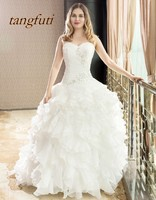 Ball Gown Long Wedding Dresses 2018 New Ruffles Beaded Sequined Bridal Bride Dress Sexy Backless Organza Wedding Gowns Hot Sale