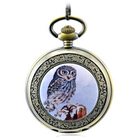 Brown Antique Skeleton Mechanical Hand Wind Pocket Fob Watches Mens Women's Watch Pendant Necklace Gift Roman Retro Owl Pattern