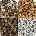 Factory Price Wholesale 6mm 100pcs Antique Metal Silver/Gold/Bronze Spacer Cone Pattern Beads for Jewelry Making,free shipping