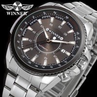 WINNER Men Women Luxury Brand Date Display Stainless Steel Watch Automatic Mechanical Wristwatches Gift Box Relogio Releges 2016