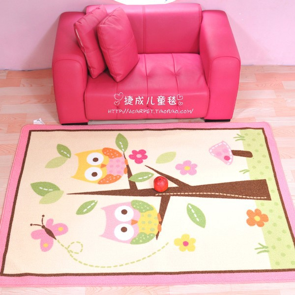 Child girl Owl Tree Trunk homes butterfly beige pink game carpet 100 ...