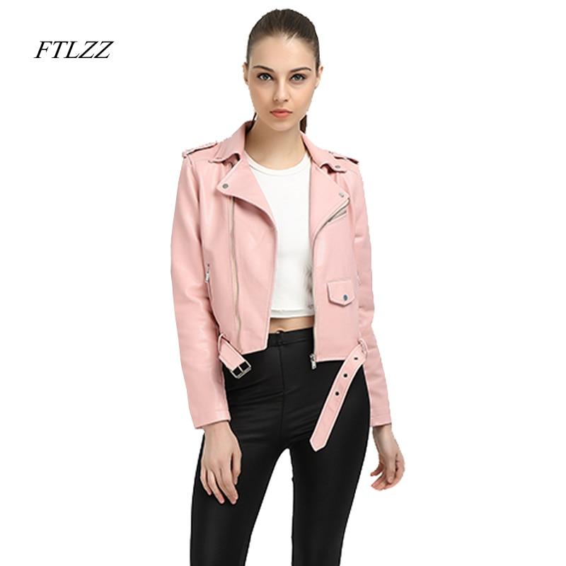 Ftlzz Faux Leather Jacket Women Pink Punk Fashion Biker Coat Slim ...