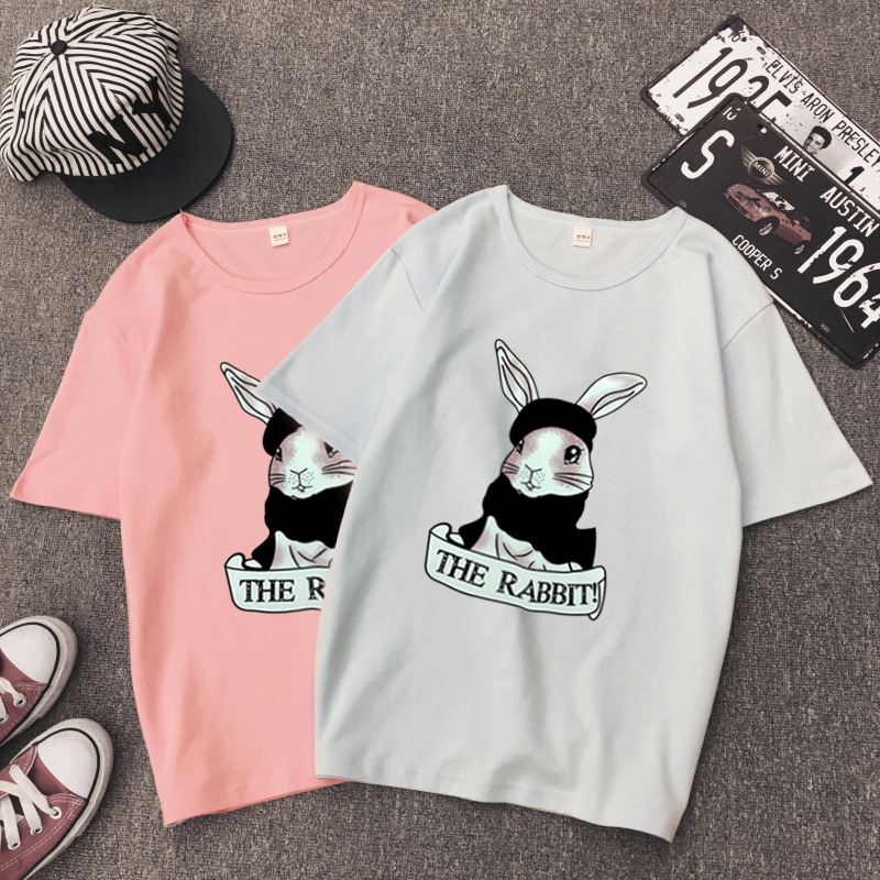 Cute Rabbit Print Women Tshirt High Quality Short Sleeve Round Neck Cotton Spandex Women Tops Casual Loose Women T-shirt 13