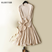 Spring Winter New Women Pleated Dress Long Sleeve Flare Hem Sexy Low-Cut O-Neck High Waist knitting dresses vestido With Sashes